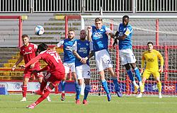 Tariq Uwakwe of Accrington Stanley takes a free-kick against Peterborough United - Mandatory by-line: Joe Dent/JMP - 12/09/2020 - FOOTBALL - Wham Stadium - Accrington, England - Accrington Stanley v Peterborough United - Sky Bet League One