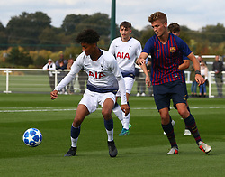 October 3, 2018 - London, England, United Kingdom - Enfield, UK. 03 October, 2018.L-R Brooklyn Lyons-Foster of Tottenham Hotspur and Arnau Comas of FC Barcelona.during UEFA Youth League match between Tottenham Hotspur and FC Barcelona at Hotspur Way, Enfield. (Credit Image: © Action Foto Sport/NurPhoto/ZUMA Press)