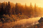 Veuve River in fog at sunrise<br /> near Hagar<br /> Ontario<br /> Canada