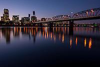 Portland Skyline and Hawthorne Bridge at Dusk<br /> <br /> Shot in Portland, OR, USA