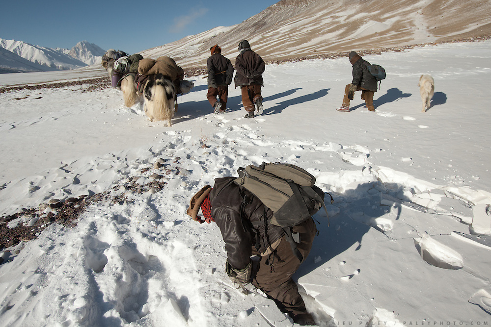 A Wakhi man struggles while going through deep snow..Going back down to Sarhad village with a yak caravan led by 2 Wakhi traders: Shur Ali and Roz Ali...Trekking down the Wakhan frozen river, the only way down to leave the high altitude Little Pamir plateau, home of the Afghan Kyrgyz community.