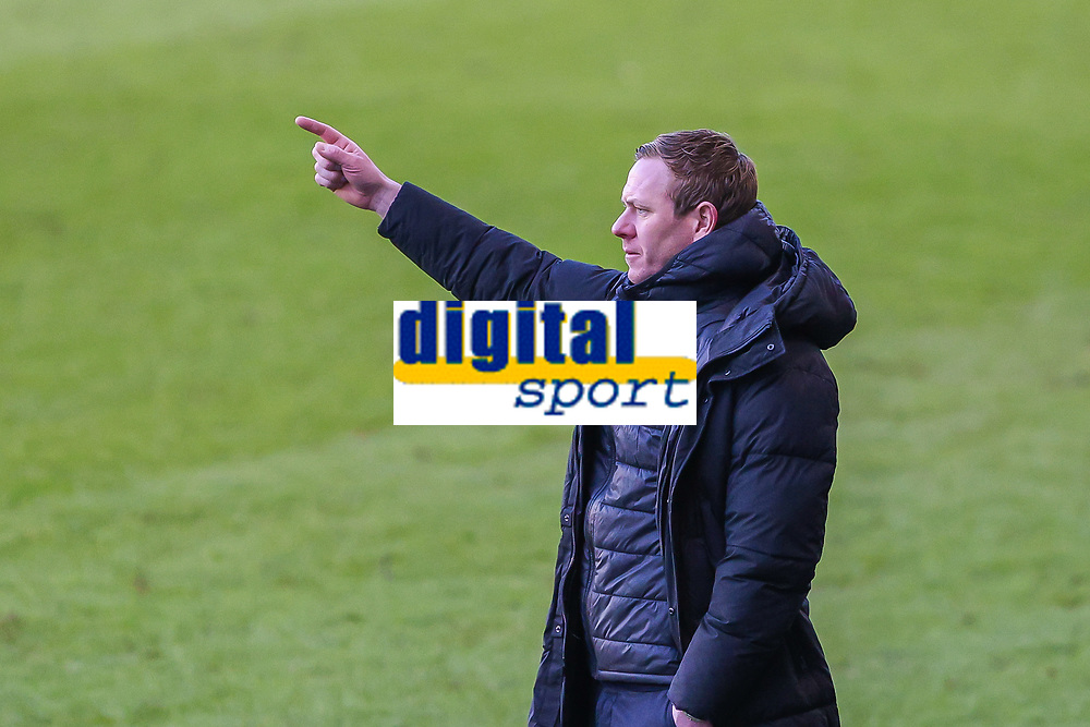 Football - 2020 /2021 Emirates FA Cup - Fourth Round : Millwall vs. Bristol City <br />  -  The Den<br /> <br /> Dean Holden, Manager of Bristol City,  points as his team go further ahead <br /> <br /> COLORSPORT/DANIEL BEARHAM