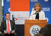 Principal Noelia Longoria comments during a press conference following a Broad Foundation research team tour at Ortiz Middle School, May 29, 2013.