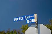 Street sign along Mulholland Drive, Los Angeles, California, USA.