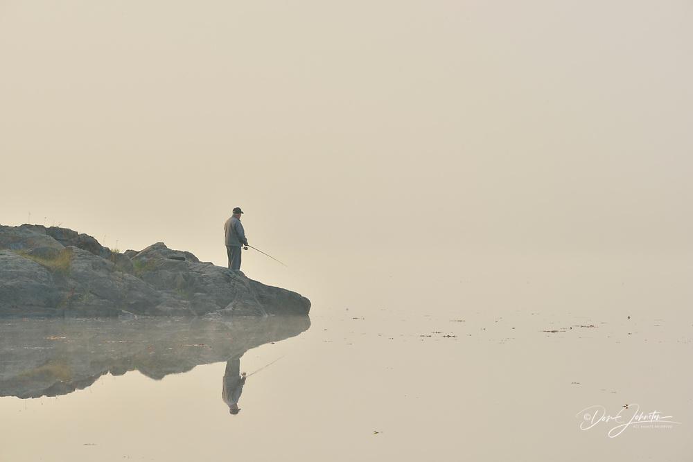 Fisherman on McCharles Lake, Greater Sudbury (Whitefish), Ontario, Canada