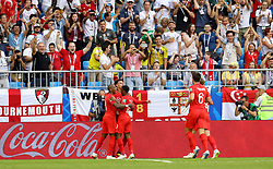 England's Dele Alli (second left) celebrates scoring his side's second goal of the game with his team mates during the FIFA World Cup, Quarter Final match at the Samara Stadium.
