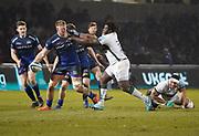 Sale Sharks No.8 Daniel Du Preez hands off Lovejoy Chawatama during a Gallagher Premiership Rugby Union match won by Sharks 39-0, Friday, Mar. 6, 2020, in Eccles, United Kingdom. (Steve Flynn/Image of Sport)