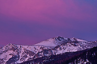 Sunrise over 12,922 ft.  Stones Peak of the Front Range.  Rocky Mountain National Park.  Colorado, USA.