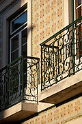Tiled decoration such as on this building is renowned in Lisbon, Portugal