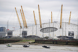 © Licensed to London News Pictures. 19/03/2017. London, UK. Police pass the Millennium Dome (The O2 Arena) while intercepting a tourist boat, taken hostage by people playing armed terrorists, in an ant-terror training exercise takes place on The River Thames in  London. It is the first time that an exercise of this type has taken place on the river. Photo credit: Ben Cawthra/LNP