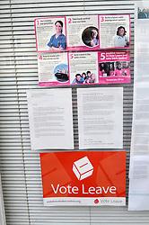 Vote Leave posters in shop window, Eye, Suffolk May 2016 - EU membership referendum