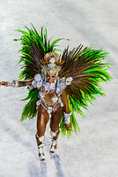 Samba dancer in the Carnaval parade of Academicos da Rocinha samba school in the Sambadrome, Rio de Janeiro, Brazil.