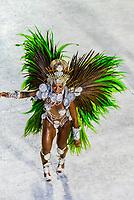Samba dancer in the Carnaval parade of Academicos da Rocinha samba school in the Sambadrome, Rio de Janeiro, Brazil.