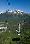 Summer tram ride up to the 2300 foot level at Alyeska resort in Girdwood Alaska