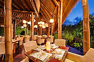The Sakti Dining Room at Fivelements Retreat. The 400 square meter, 80-seat restaurant runs on just 160 watts of LED lighting. The menu features all-vegan cuisine, including a creative array of raw food offerings, all sourced from local organic suppliers.