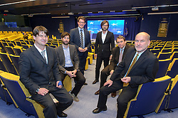 The Der Spiegel reporting team, in the EU Council press briefing room, during the first day of the EU Summit, at the European Council headquarters in Brussels, Belgium on Thursday, Dec. 13, 2012. (Photo © Jock Fistick)
