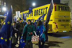 "A bus emblazoned with ""Bollox to Brexit"" leaves Steve Bray's ongoing pro-remain protest at Old Palace Yard outside Parliament. Westminster, London, December 20 2018."