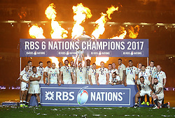 The England squad celebrate with the RBS 6 Nations trophy - Mandatory by-line: Ken Sutton/JMP - 18/03/2017 - RUGBY - Aviva Stadium - Dublin,  - Ireland v England - RBS 6 Nations