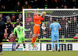 Coventry City Goalkeeper Lee Burge gathers a Forest Green Rovers cross