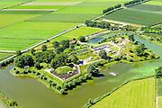 Nederland, Gelderland, Gemeente Lingewaal, 23-08-2016; Herwijnen, Geofort, voorheen Fort bij de Nieuwe Steeg (onderdeel van de Nieuwe Hollandse Waterlinie). Educatieve attractie  op het gebied van cartografie en navigatie. <br /> Geofort, formerly known as Fort at Nieuwe Steeg (New Lane), part of the New Dutch Water Line. Educational attraction in the field of cartography and navigation.<br /> luchtfoto (toeslag op standard tarieven); aerial photo (additional fee required); copyright foto/photo Siebe Swart