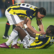 Fenerbahce's Mamadou NIANG (R) and Mehmet TOPUZ (L) celebrate victory during their Turkish superleague soccer match Fenerbahce between Ankaragucu at the Sukru Saracaoglu stadium in Istanbul Turkey on Sunday 15 May 2011. Photo by TURKPIX