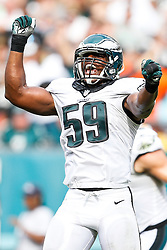 Philadelphia Eagles inside linebacker DeMeco Ryans #59 reacts after a play during the NFL Game between The Washington Redskins and The Philadelphia Eagles at Lincoln Financial Field in Philadelphia on Sunday September 21st 2014. The Eagles won 37-34. (Brian Garfinkel/Philadelphia Eagles)