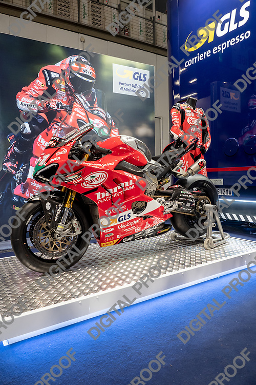 RHO Fieramilano, Milan Italy - November 07, 2019 EICMA Expo. Michele Pirro Ducati Panigale motorcycle with its uniform on display at EICMA 2019