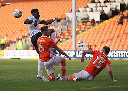Pelly Ruddock of Luton Town  (L) has a shot at goal blocked by Tom Aldred of Blackpool (R) - Mandatory by-line: Jack Phillips/JMP - 14/05/2017 - FOOTBALL - Bloomfield Road - Blackpool, England - Blackpool v Luton Town - Football League 2 Play-off Semi Final Leg 1