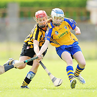 31 August 2008; Aine O'Brien, Clare, in action against Aisling Dunphy, Kilkenny. All-Ireland Minor A Championship Final, Clare v Kilkenny, Geraldine Park, Athy, Co. Kildare. Picture credit: Paul Mohan / SPORTSFILE *** NO REPRODUCTION FEE ***