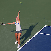 Annika Beck, Germany, in action against Petra Kvitova, Czech Republic, during the New Haven Tennis Open at Yale,, Connecticut, USA. 20th August 2013. Photo Tim Clayton