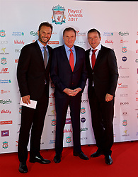 LIVERPOOL, ENGLAND - Tuesday, May 9, 2017: Former Liverpool players Patrik Berger, Phil Thompson and Vladimir Smicer arrive on the red carpet for the Liverpool FC Players' Awards 2017 at Anfield. (Pic by David Rawcliffe/Propaganda)