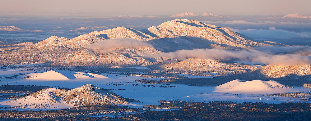 Sitgreaves mountain and surrounding prairie with a fresh blanket of snow
