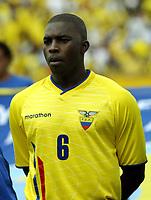 Fotball<br /> Ecuador<br /> Foto: Argenpress/Digitalsport<br /> NORWAY ONLY<br /> <br /> VM-kvalifisering<br /> 04.06.2005<br /> Ecuador v Argentina<br /> <br /> Geovanni Espinoza from Ecuador