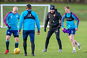 Heart of Midlothian manager Robbie Neilson joins his players during the Heart of Midlothian press conference and training session at Oriam Sports Performance Centre, Edinburgh, Scotland on 23 November 2020.