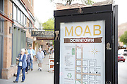 SHOT 5/7/16 6:36:25 PM - Moab is a city in Grand County, in eastern Utah, in the western United States. Moab attracts a large number of tourists every year, mostly visitors to the nearby Arches and Canyonlands National Parks. The town is a popular base for mountain bikers and motorized offload enthusiasts who ride the extensive network of trails in the area. Includes images of Scenic Byway 128, Fisher Towers and downtown Moab. (Photo by Marc Piscotty / © 2016)