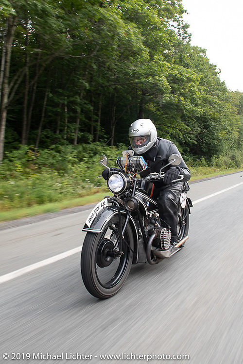 Norm Nelson riding his 1928 BMW R-52 in the Motorcycle Cannonball coast to coast vintage run. Stage-2 (251-miles) from Keene, NH to Binghampton, NY. Sunday September 9, 2018. Photography ©2018 Michael Lichter.