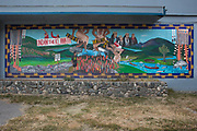 A competing vision of water management in California is depicted in a mural near the Klamath River in Northern California.  A slow-moving agreement between water agencies, dam operators and local, state and federal governments has paved the way for the removal of three dams along the Klamath River.  Local residents and tribal groups like the Karuk look forward to the rebounding of the salmon and steelhead fisheries, important for tourism and cultural heritage. April 26, 2013.