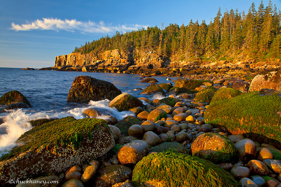Polished rocks at Otter Cliffs in Acadia National Park, Maine, USA