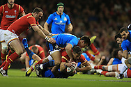 Rhys Webb of Wales scores his teams 1st try. RBS Six Nations championship 2016, Wales v Italy at the Principality Stadium in Cardiff, South Wales on Saturday 19th March 2016. pic by  Andrew Orchard, Andrew Orchard sports photography.