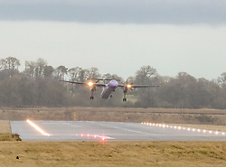High Winds at Edinburgh Airport, Tuesday 7th January 2020<br /> <br /> Planes struggled on landing and take-off as high winds hit Edinburgh Airport today<br /> <br /> Pictured: A Flybe flight takes off<br /> <br /> Alex Todd | Edinburgh Elite media