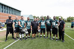 A Group Photo of the Offensive Linemen who attended the Philadelphia Eagles NFL football rookie camp at the teams practice facility on Saturday, May 17, 2014. (Photo by Brian Garfinkel)