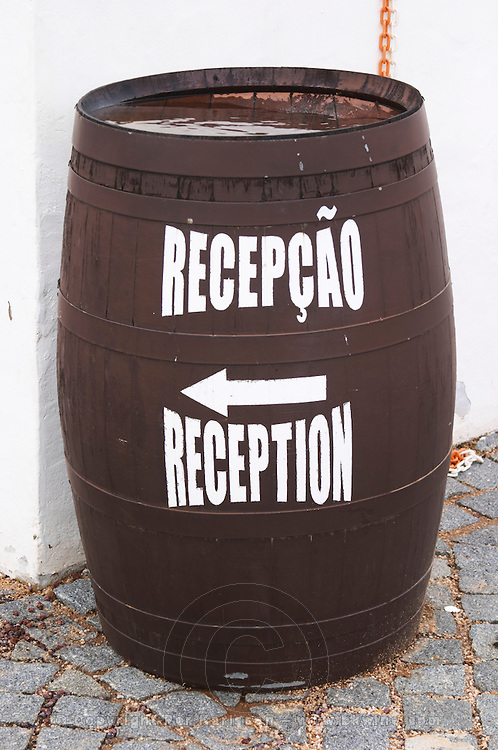 Barrel with writing pointing to reception. J Portugal Ramos Vinhos, Estremoz, Alentejo, Portugal