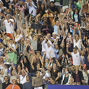 BRUSSELS, BELGIUM:  September 3:   Spectators perform the Mexican wave as the first sporting event in Belgium allowing a full stadium attend the Wanda Diamond League 2021 Athletics competition at King Baudouin Stadium on September 3, 2021 in  Brussels, Belgium. (Photo by Tim Clayton/Corbis via Getty Images)