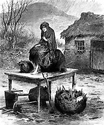 Potato Famine: Irish peasant girl guarding the family's last few  possessions after eviction for non-payment of rent. From 'The Illustrated London News', April 1886  Wood engraving