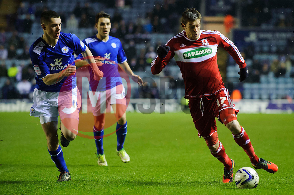Middlesbrough Forward Lucas Jutkiewicz (POL) breaks from Leicester Defender Michael Keane (ENG) during the second half of the match - Photo mandatory by-line: Rogan Thomson/JMP - Tel: Mobile: 07966 386802 18/01/2013 - SPORT - FOOTBALL - King Power Stadium - Leicester. Leicester City v Middlesbrough - npower Championship.