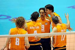 18-05-2008 VOLLEYBAL: EK KWALIFICATIE NEDERLAND - SLOVENIE: ROTTERDAM<br /> Nederland wint ook de laatste wedstrijd met 3-0 - Blijdschap bij Robert Horstink, Jeroen Trommel, Wytze Kooistra en Rob Bontje<br /> ©2008-WWW.FOTOHOOGENDOORN.NL