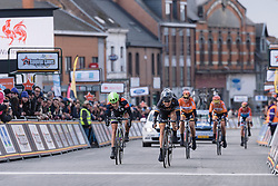 Amy Pieters wins the sprint for third ahead of Floortje Mackaij - Le Samyn des Dames 2016, a 113km road race from Quaregnon to Dour, on March 2, 2016 in Hainaut, Belgium.