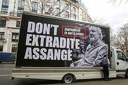 © Licensed to London News Pictures. 22/02/2020. London, UK. A campaign van for Wikileaks founder JULIAN ASSANGE parked outside Australia House, Strand, demanding that ASSANGE should not be extradited to the USA. JULIAN ASSANGE faces 18 charges in the United States including conspiring to hack government computers and violating an espionage law. His extradition trial begins at Woolwich Crown Court on Monday, 24 February 2020. Photo credit: Dinendra Haria/LNP
