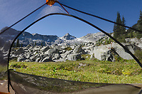 View through tent door in backcountry camp, Marriott Basin near Wendy Thompson Hut, Coast Mountains British Columbia