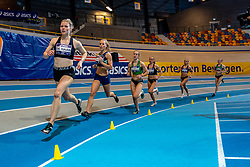 Melissa de Haan, Nadine Broersen, Sarah van Beilen in action on 1000 meters during the Dutch Athletics Championships on 14 February 2021 in Apeldoorn